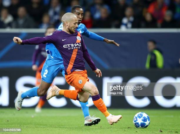 David Silva of Manchester City scores his team's second goal during the Group F match of the UEFA Champions League between TSG 1899 Hoffenheim and...