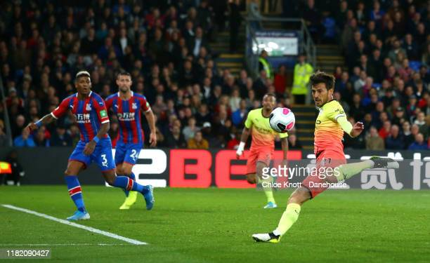 David Silva of Manchester City scores his teams second goal during the Premier League match between Crystal Palace and Manchester City at Selhurst...