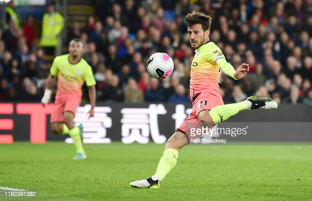 David Silva of Manchester City scores his team's second goal during the Premier League match between Crystal Palace and Manchester City at Selhurst...