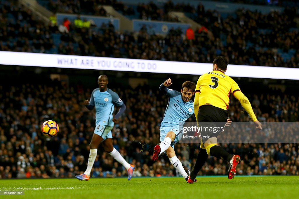 David Silva of Manchester City scores his team's second goal during the Premier League match between Manchester City and Watford at Etihad Stadium on December 14, 2016 in Manchester, England.