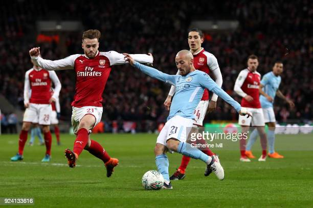 David Silva of Manchester City scores the third Manchester City goal during the Carabao Cup Final between Arsenal and Manchester City at Wembley...