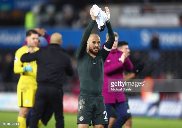 David Silva of Manchester City shows appreciation to the fans after the Premier League match between Swansea City and Manchester City at Liberty...