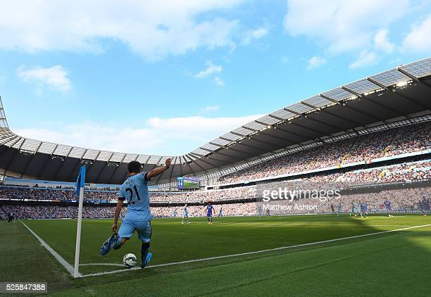 David Silva of Manchester City takes a corner at The Ethiad Stadium home of Manchester City