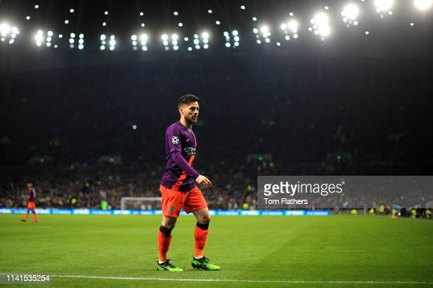 David Silva of Manchester City walks to the corner flag to take a corner kick during the UEFA Champions League Quarter Final first leg match between...