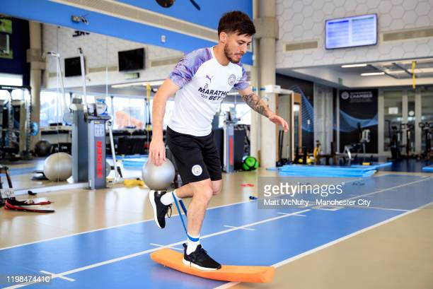 David Silva of Manchester City warms up in the gym during the training session at Manchester City Football Academy on January 09, 2020 in Manchester,...