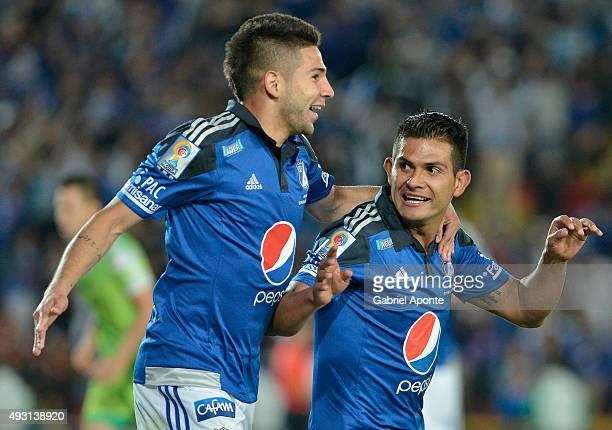David Silva of Millonarios celebrates after scoring the third goal of his team during a match between Millonarios and Jaguares FC as part of round 16...