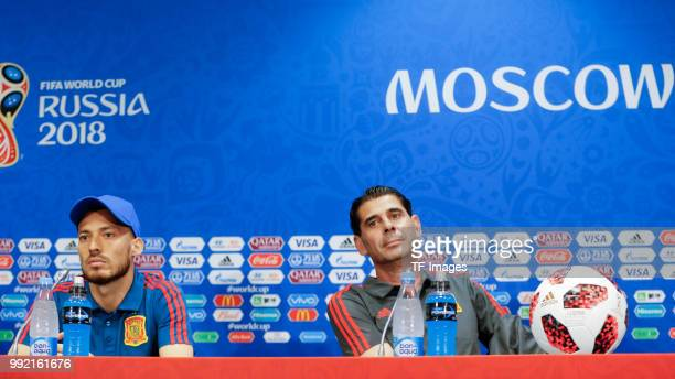 David Silva of Spain and Head coach Fernando Hierro of Spain attend the press conference prior to a training session on June 30 2018 in Moscow Russia