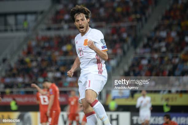 David Silva of Spain celebrates after scoring during the FIFA 2018 World Cup Qualifiers Group G match between Macedonia and Spain at Philip II Arena...