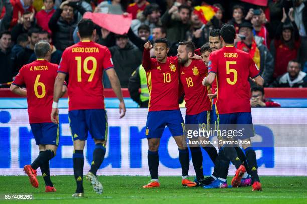 David Silva of Spain celebrates after scoring goal during the FIFA 2018 World Cup Qualifier between Spain and Israel at Estadio El Molinon on March...