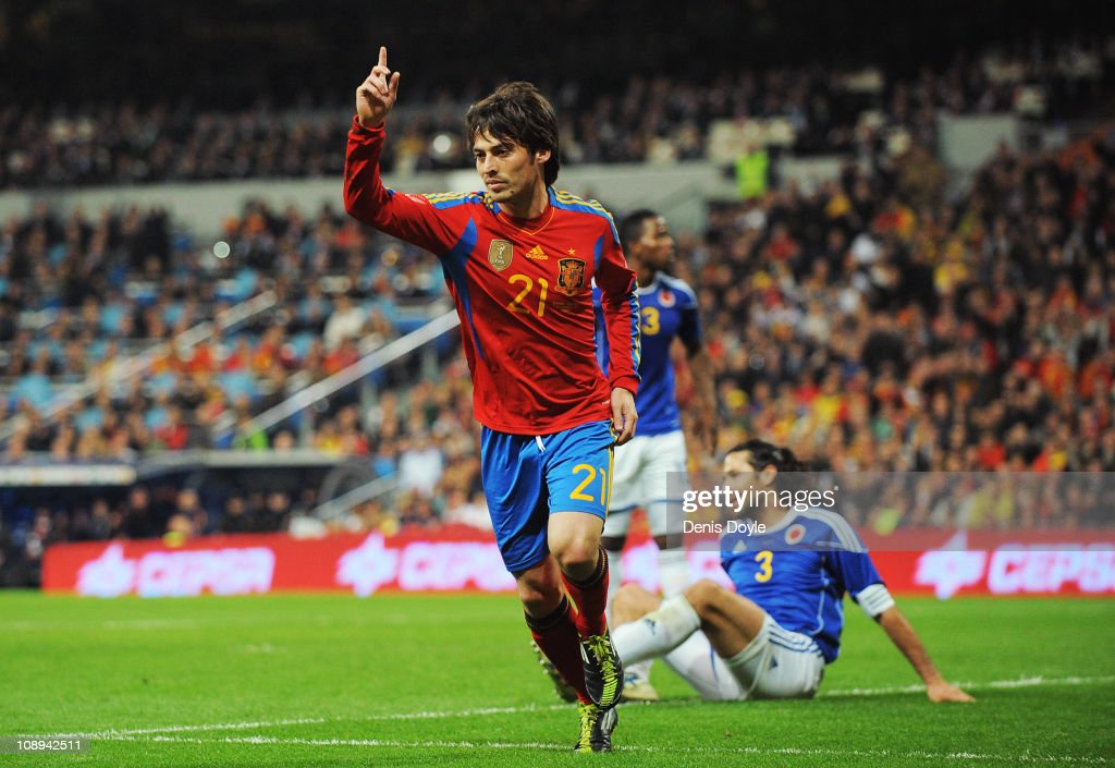David Silva of Spain celebrates after scoring Spain's first goal during the International friendly match between Spain and Colombia at Estadio Santiago Bernabeu on February 9, 2011 in Madrid, Spain.