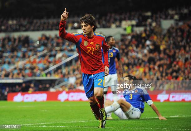David Silva of Spain celebrates after scoring Spain's first goal during the International friendly match between Spain and Colombia at Estadio...