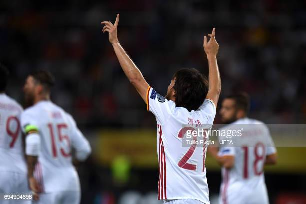 David Silva of Spain celebrates after scoring the opening goal during the FIFA 2018 World Cup Qualifier between FYR Macedonia and Spain at Nacional...