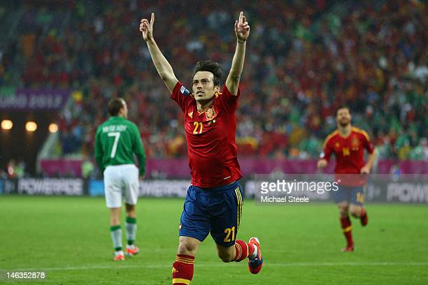 David Silva of Spain celebrates scoring his goal during the UEFA EURO 2012 group C match between Spain and Ireland at The Municipal Stadium on June...