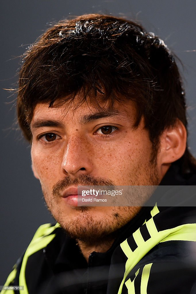 David Silva of Spain faces the media during a Spain press conference at Centro de Entrenamiento do Caju on June 21, 2014 in Curitiba, Brazil.