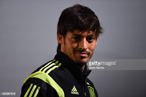 David Silva of Spain faces the media during a Spain press conference at Centro de Entrenamiento do Caju on June 21 2014 in Curitiba Brazil