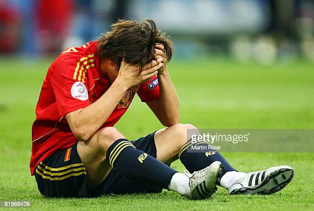 David Silva of Spain holds his head during the UEFA EURO 2008 Group D match between Sweden and Spain at Stadion Tivoli Neu on June 14 2008 in...