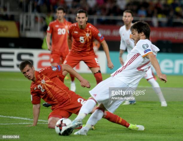 David Silva of Spain in action during the FIFA 2018 World Cup Qualifiers Group G match between Macedonia and Spain at Philip II Arena in Skopje...