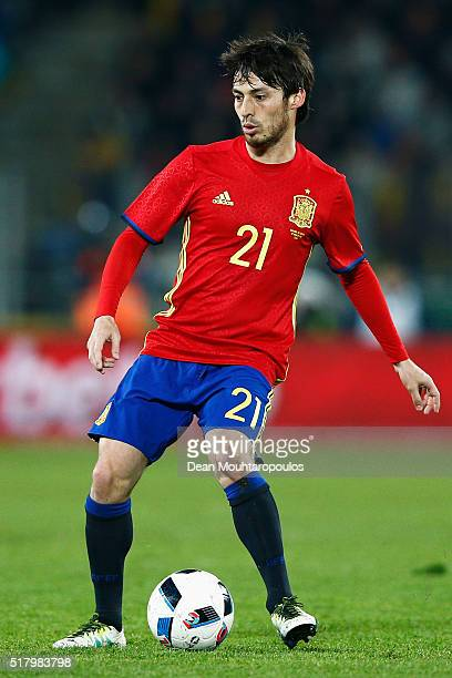 David Silva of Spain in action during the International Friendly match between Romania and Spain held at the Cluj Arena on March 27 2016 in...
