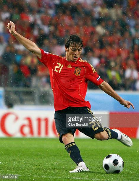 David Silva of Spain in action during the UEFA EURO 2008 Group D match between Spain and Russia at Stadion Tivoli Neu on June 10 2008 in Innsbruck...