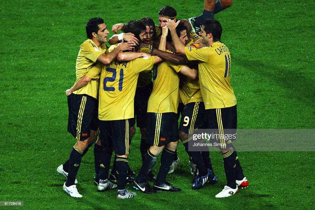 David Silva of Spain is mobbed by team mates after scoring his goal during the UEFA EURO 2008 Semi Final match between Russia and Spain at Ernst Happel Stadion on June 26, 2008 in Vienna, Austria.