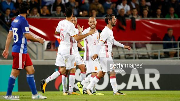 David Silva of Spain Isco Alarcón of Spain and Thiago Alcantara of Spain celebrate a goal during the FIFA 2018 World Cup Qualifier between...