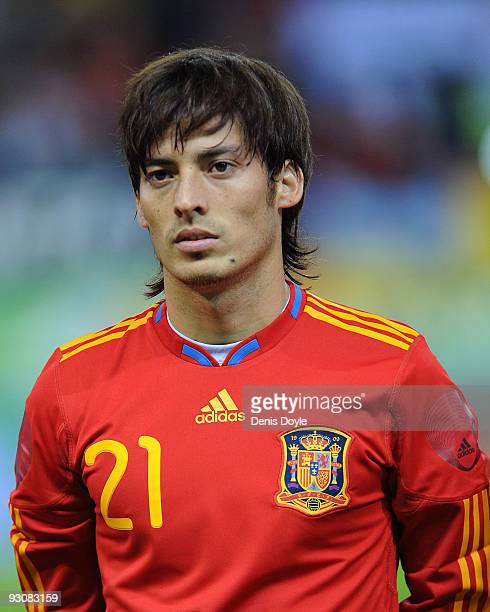 David Silva of Spain linesup before the International friendly match between Argentina and Spain at the Vicente Calderon stadium on November 14 2009...