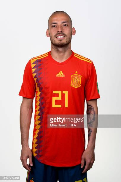 David Silva of Spain poses for a portrait during the official FIFA World Cup 2018 portrait session at FC Krasnodar Academy on June 8 2018 in...