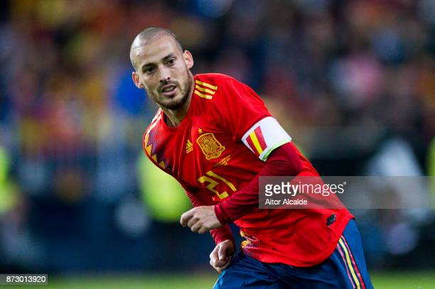 David Silva of Spain reacts during the international friendly match between Spain and Costa Rica at La Rosaleda Stadium on November 11 2017 in Malaga...