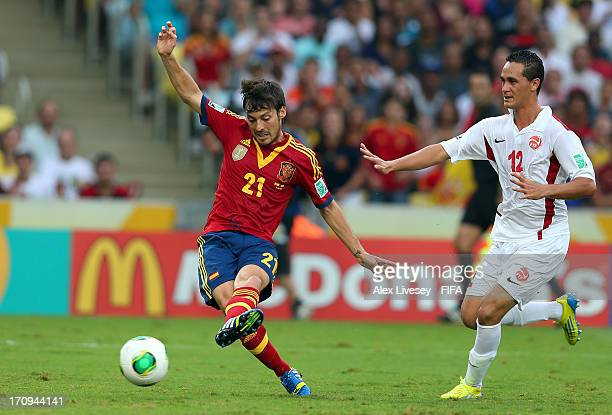 David Silva of Spain scores his team's second goal during the FIFA Confederations Cup Brazil 2013 Group B match between Spain and Tahiti at the...