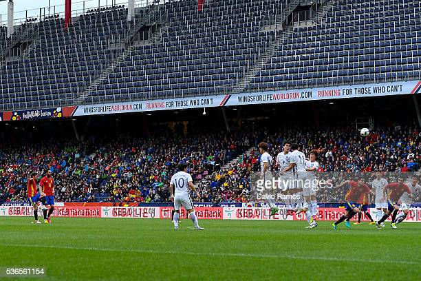 David Silva of Spain scores the opening goal during an international friendly match between Spain and Korea at the Red Bull Arena stadium on June 1...