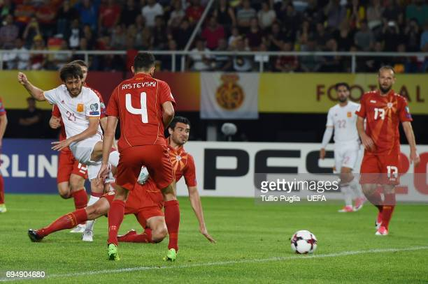 David Silva of Spain scores the opening goal during the FIFA 2018 World Cup Qualifier between FYR Macedonia and Spain at Nacionalna Arena Filip II...