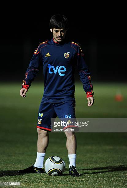 David Silva of Spain stands with the ball during a training session on June 26 2010 in Potchefstroom South Africa