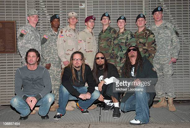 David Silveria Jonathan Davis Fieldy and James 'Munky' Shaffer and US Soldiers