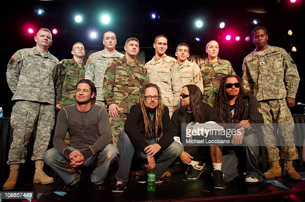 David Silveria Jonathan Davis Fieldy James 'Munky' Shaffer and US Soldiers