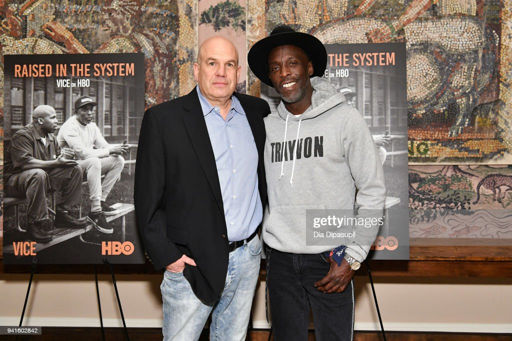 David Simon (L) and Michael Kenneth Williams attend the 'Vice' Season 6 Premiere at the Whitby Hotel on April 3, 2018 in New York City.