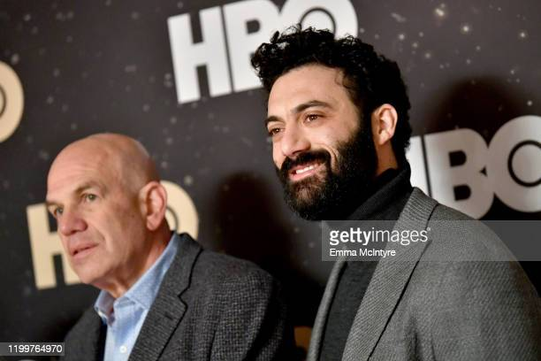 David Simon and Morgan Spector of 'The Plot Against America' pose in the green room during the 2020 Winter Television Critics Association Press Tour...