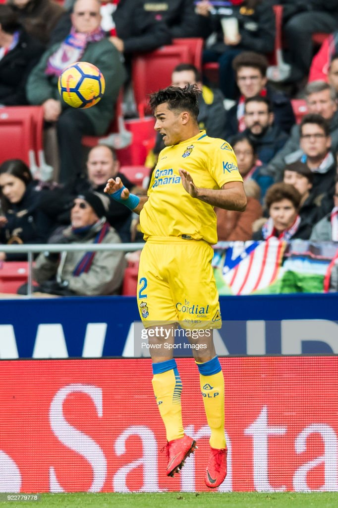 David Simon of UD Las Palmas heads the ball during the La Liga 2017-18 match between Atletico de Madrid and UD Las Palmas at Wanda Metropolitano on January 28 2018 in Madrid, Spain.