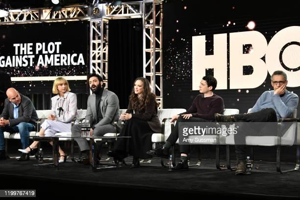 David Simon Zoe Kazan Morgan Spector Winona Ryder Anthony Boyle and John Turturro of The Plot Against America speak during the HBO segment of the...