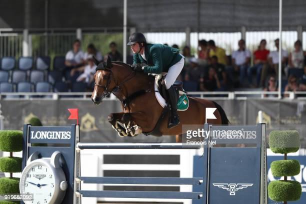 David Simpson of Ireland rides Keoki The President of the UAE Show Jumping Cup at Al Forsan on February 17 2018 in Abu Dhabi United Arab Emirates