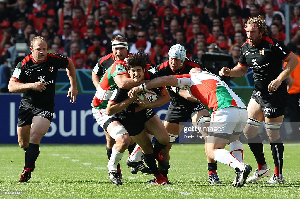 David Skrela of Toulouse is stopped as he drives forward during the Heineken Cup Final at Stade France on May 22, 2010 in Paris, France.