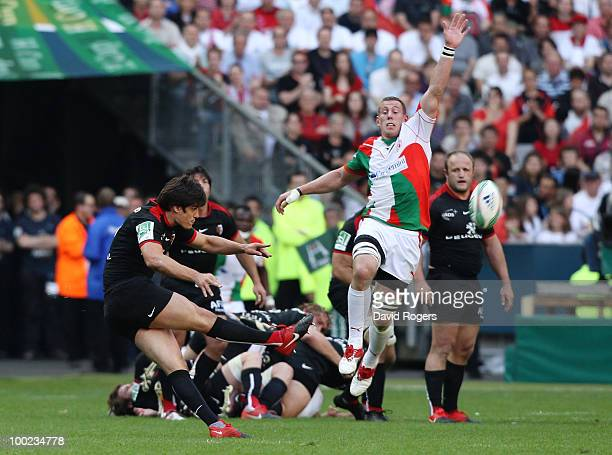 David Skrela of Toulouse scores a drop goal during the Heineken Cup Final at Stade France on May 22 2010 in Paris France