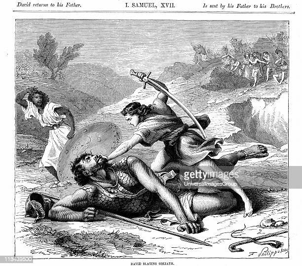 David slaying the Philistine giant GoliathBible I Samuel 17 Goliath 6 cubits tall At bottom right is the sling David used to hurl stone which brought...