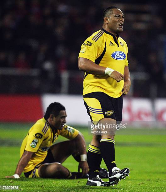 David Smith and Neemia Tialata of the Hurrcanes show their dissapointment following their teams loss to the Crusaders following the round 12 Super 14...