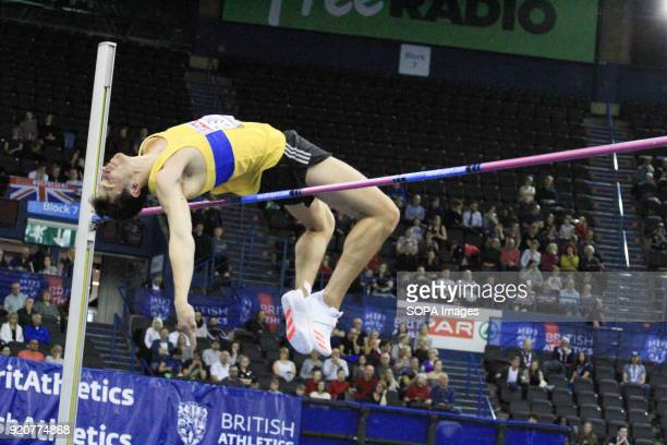 David Smith competes during the Men's high jump at the British Indoor Championships in Birmingham