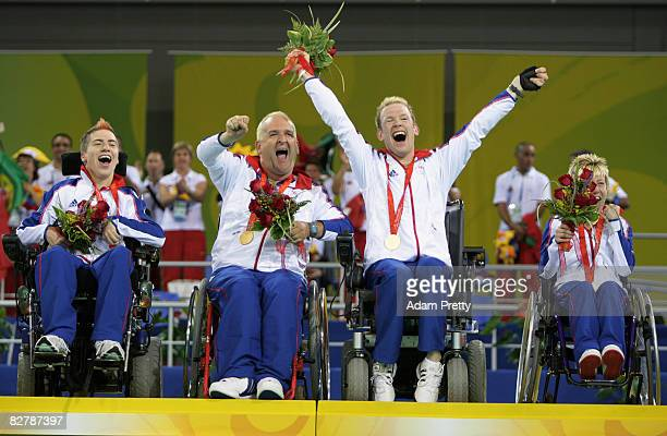 David Smith Nigel Murray Dan Bentley and Zoe Robinson of Great Britain celebrate winning Gold in the Boccia final between Great Britain and Portugal...