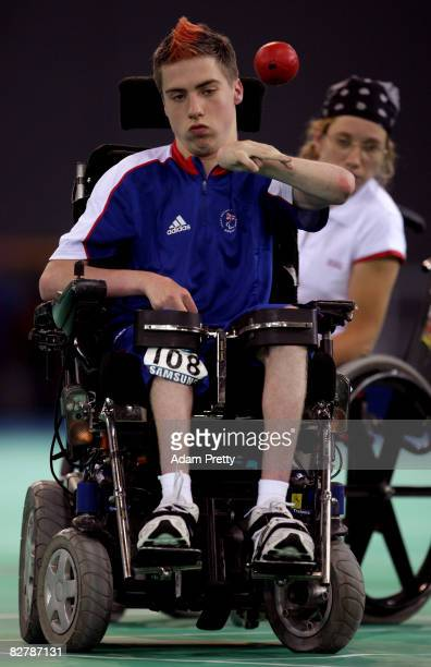 David Smith of Great Britain on his way to winning Gold in the Boccia final between Great Britain and Portugal at the Fencing hall of the National...