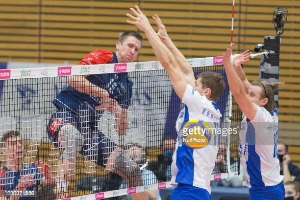 David Smith ,Piotr Nowakowski ,Michal Kozlowski during the match Verva Warsaw v ZAKSA Kedzierzyn Kozle - Polish Volleyball Plus Liga, in Warsaw,...