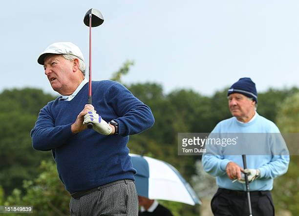 David Snell looks on as Jack Timms of College Pines Golf Club takes a shot during the PGA Super 60's Tournament at the De Vere Belton Woods Golf Club...