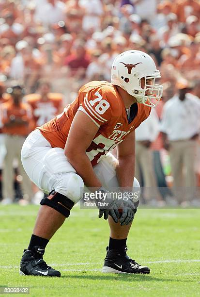 David Snow of the Texas Longhorns gets ready on the field during the game against the Arkansas Razorbacks on September 27 2008 at Darrell K...