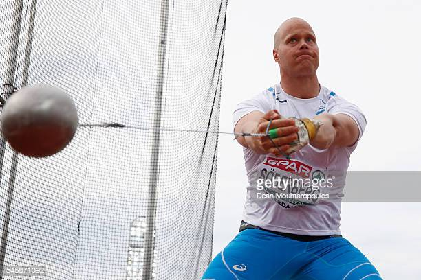 David Soderberg of Finland in action during the final of the mens hammer on day five of The 23rd European Athletics Championships at Olympic Stadium...